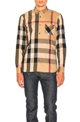 Burberry Herringbone Stretch Giant Check Shirt In Checkered And Plaid Neutrals Checkered And Plaid Neutrals