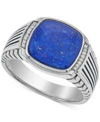 Esquire Men's Jewelry Lapis Lazuli 12 X 12Mm And Diamond Accent Ring In Sterling Silver First At Macy's Blue