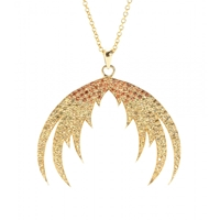 House Of Waris Plumage Ombre 18Kt Yellow Gold Pendant Necklace With Orange Sapphires