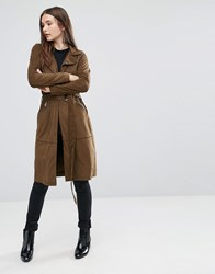 Only Jennifer Gd Faux Suede Trench Coat Kangaroo Green