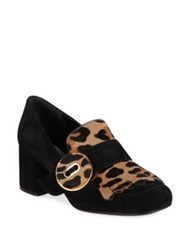 Prada Suede And Leopard Print Calf Hair Kiltie Pumps Black Tan