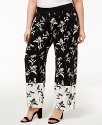 7399a17d677 Alfani Plus Size Printed Palazzo Pants Created For Macy s Black Floral Dash
