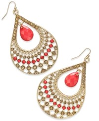 Thalia Sodi Gold Tone Red Stone Filigree Teardrop Earrings Only At Macy's