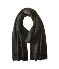 Cole Haan Fine Gauge Pattern Jacquard Knit Muffler Black Heather Grey Scarves