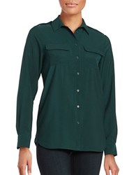 French Connection Sheer Button Down Blouse Pine Forest