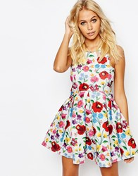 Jaded London Crochet Floral Scuba Dress Multi