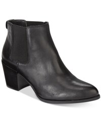 Anne Klein Geordanna Block Heel Booties Black Leather