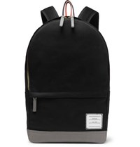Thom Browne Grosgrain Trimmed Cotton Twill And Leather Backpack Navy