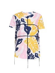 Cedric Charlier Palm Leaf Print Short Sleeved Top