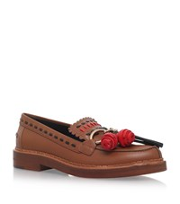 Tod's Embroidered Gypsy Loafers Female Tan