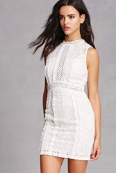 Forever 21 Soieblu Crochet And Lace Bodycon Ivory
