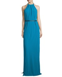 Halston Heritage Halter Neck Belted Evening Gown Turquoise