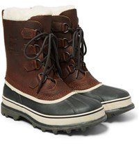 Sorel Caribou Faux Shearling Trimmed Waterproof Leather And Rubber Snow Boots Dark Brown