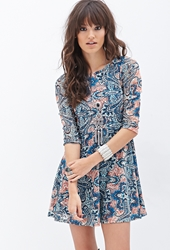 Forever 21 Baroque Print Crochet Dress Blue Coral