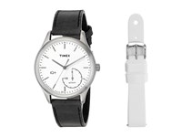 Timex Iq Move Leather Strap With Extra Silicone Strap Black White Watches