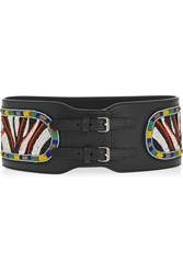 Emilio Pucci Embroidered Leather Belt Black