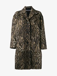Rochas Leopard Print Wool And Alpaca Overcoat Brown Leopard Cream