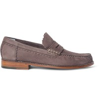 Grenson Ashley Pebble Grain Nubuck Penny Loafers Neutrals