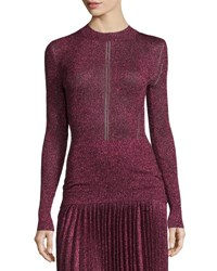 Christopher Kane Long Sleeve Metallic Knit Top Pink