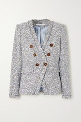 Veronica Beard Cedric Dickey Double Breasted Frayed Cotton Blend Tweed Blazer Gray