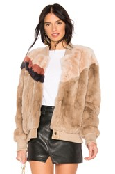Heartloom Meg Rabbit Fur Jacket Tan