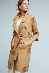 Anthropologie Embroidered Floral Trench Honey