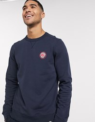 Pretty Green Live Forever Badge Logo Sweat In Navy