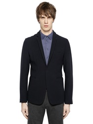 Emporio Armani Stretch Wool Basket Weave Jacket Navy