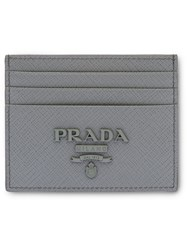 Prada Saffiano Leather Card Holder F0k44 Marble Gray