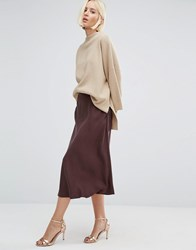 Selected Massia Midi Skirt Puce Brown