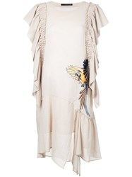 Maurizio Pecoraro Bird Embroidered Draped Dress Neutrals