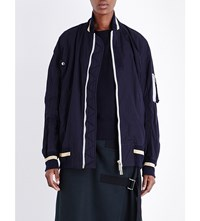 Sacai Oversized Cotton Canvas Bomber Jacket Navy X Gold