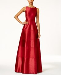 Adrianna Papell Satin Paneled Racerback Gown Crimson Red