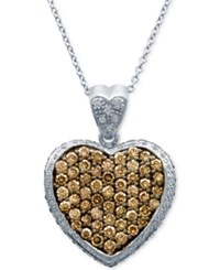 Le Vian Chocolatier Diamond Pave Heart Pendant Necklace 1 7 8 Ct. T.W. In 14K White Gold