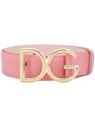 Dolce And Gabbana Logo Buckle Belt Pink And Purple