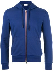 Moncler Striped Trim Hoodie Blue