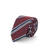 Sartorio Striped Cotton Blend Necktie Wine