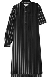 Balenciaga Striped Cotton Poplin Shirt Dress Black