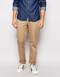 Asos Stretch Straight Chinos In Stone