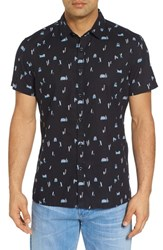 Kahala Surf Bus Trim Fit Print Sport Shirt Black