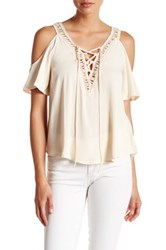 Astr Short Sleeve Cold Shoulder Woven Lace Up Blouse White