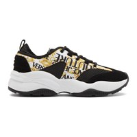 Versace Jeans Couture Black And White Barocco Print Sneakers