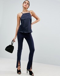 Asos Sexy Skinny Trouser With Split Front Navy