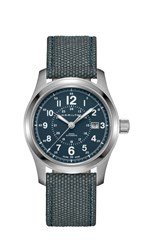 Hamilton H70605943 Men's Khaki Field Automatic Date Fabric Strap Watch Steel Blue