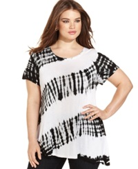 Style And Co. Plus Size Oversized Tie Dye Tee