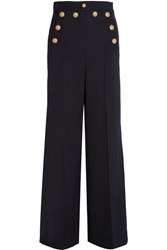 Red Valentino Redvalentino Stretch Pique Wide Leg Pants Midnight Blue