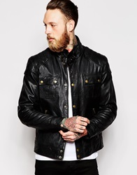 Asos Leather Jacket With Chest Pocket In Black