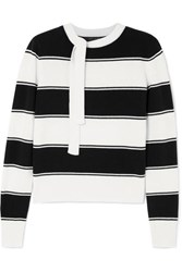 Marc Jacobs Tie Detailed Striped Wool Sweater Ivory