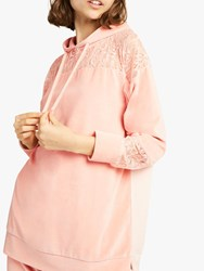 French Connection Ruthie Velour Jersey Hoodie Ballet Blush