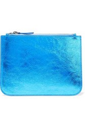 Iris And Ink Blake Metallic Cracked Leather Pouch Blue
